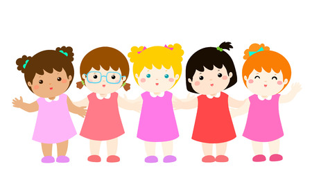Happy character cartoon girl variety nationality full body vector illustration. Illustration