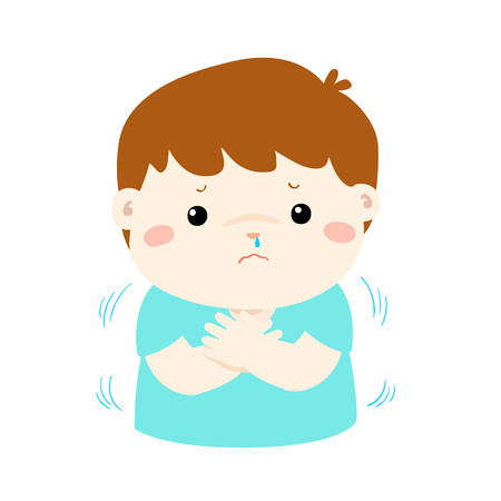 Little boy with a cold shivering cartoon vector illustration.