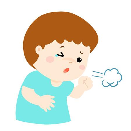 Little boy coughing vector cartoon illustration.