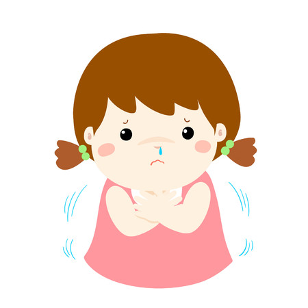 Little girl with a cold shivering vector cartoon illustration. Illustration