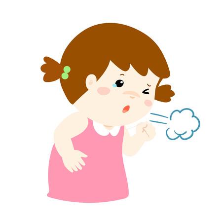 tosiendo: Niña tosiendo vector ilustración de dibujos animados.