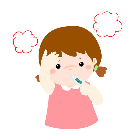 influenza: Little girl got high temperature vector cartoon illustration.