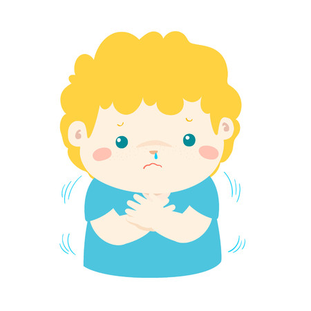 Little boy with a cold shivering vector cartoon illustration. Illustration