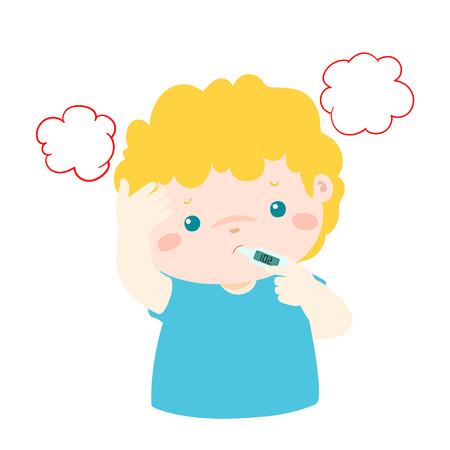 Little boy got high temperature vector cartoon illustration.