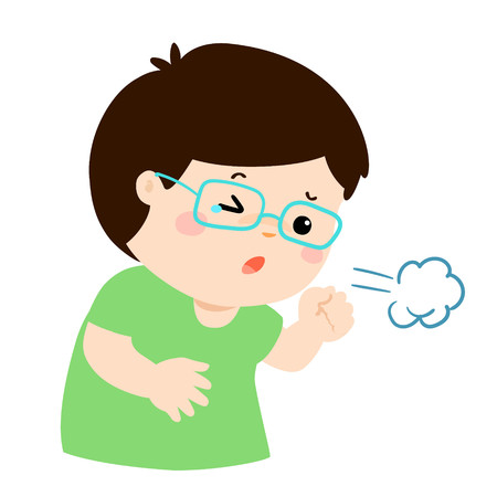 Little boy coughing vector cartoon illustration.