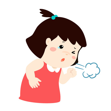 Little girl coughing vector cartoon illustration. Illustration