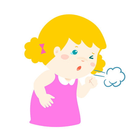 influenza: Little girl coughing vector cartoon illustration. Illustration