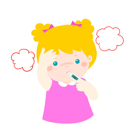 Little girl got high temperature vector cartoon illustration.