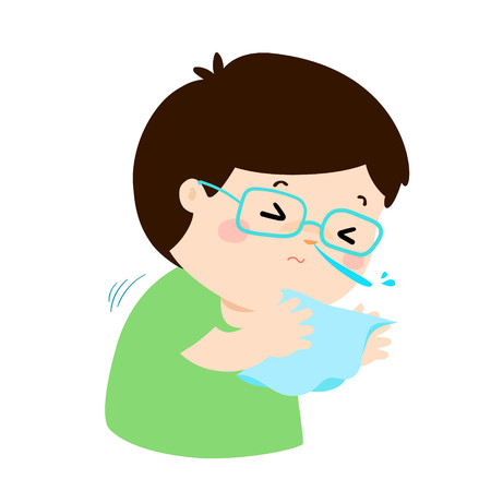 Little boy sneezing vector illustration. Illustration