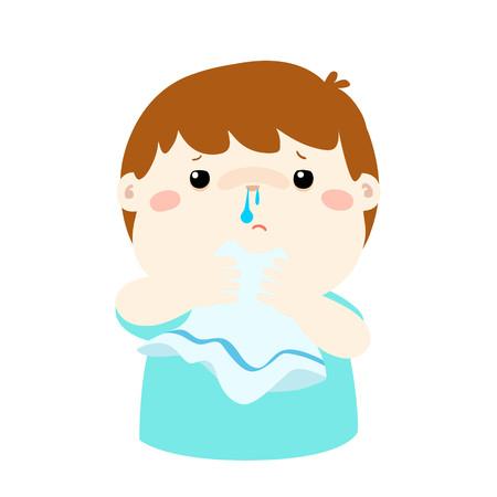 Sick boy runny nose vector illustration. Ilustrace