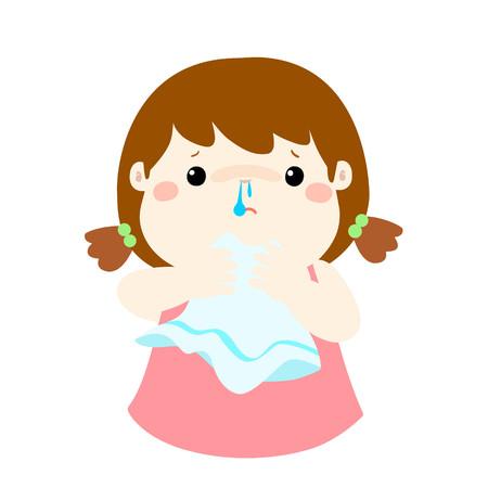 handkerchief: Sick girl runny nose vector illustration.