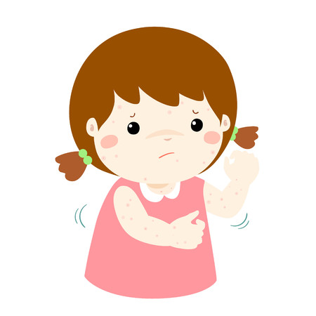 Girl with health problem allergy rash itching vector. Stock Illustratie