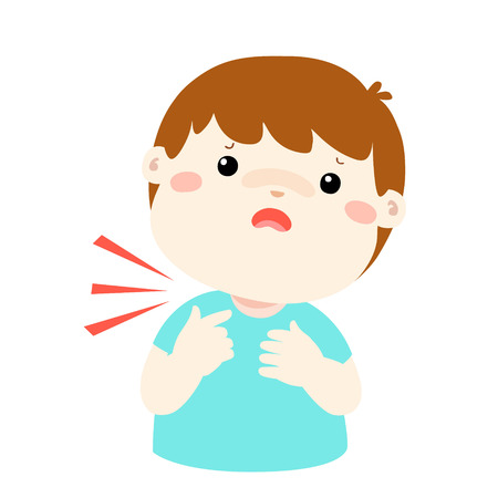 Sick boy sore throat cartoon vector illustration.