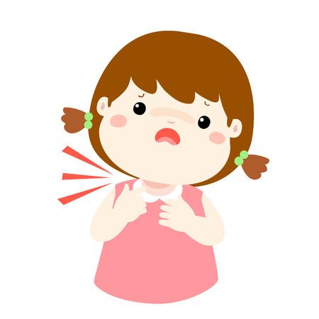 Sick girl sore throat cartoon vector illustration.