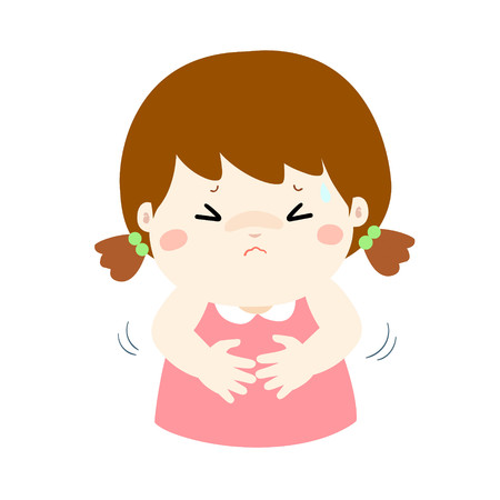 Meisje met buikpijn, cartoon stijl vectorillustratie geïsoleerd op een witte achtergrond. Klein kind.