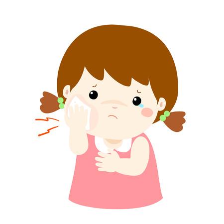 swell: Little girl having toothache cartoon vector illustration. Illustration