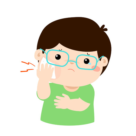 inflame: Little boy having toothache cartoon vector illustration.