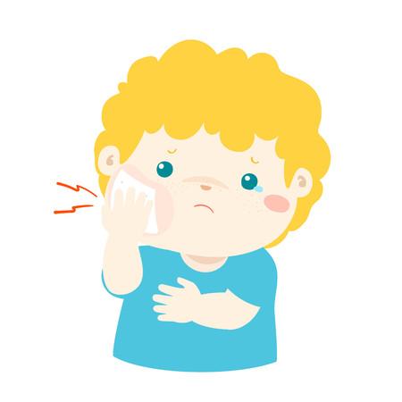 Little boy having toothache cartoon vector illustration.