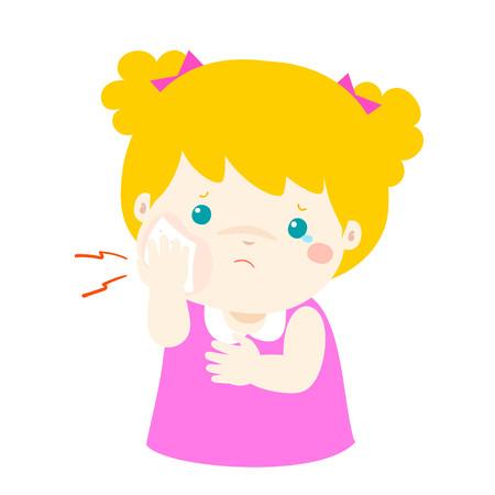 inflame: Little girl having toothache cartoon vector illustration. Illustration