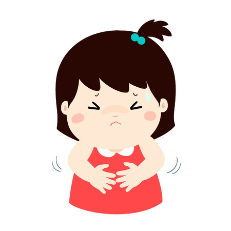 Girl having stomach ache,cartoon style vector illustration isolated on white background. Little child.  イラスト・ベクター素材