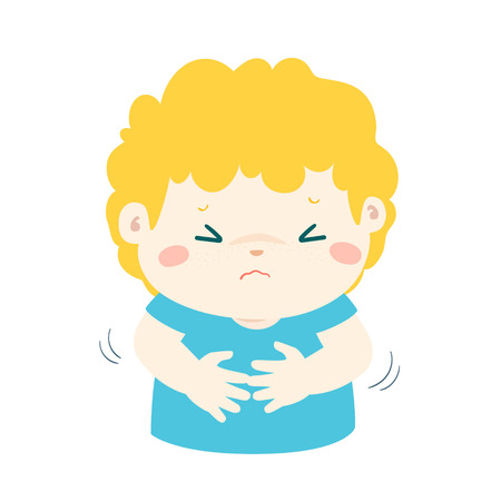 Boy having stomach ache,cartoon style vector illustration isolated on white background. Little child.