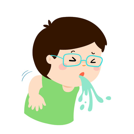 influenza: Sick boy vomiting cartoon vector illustration.