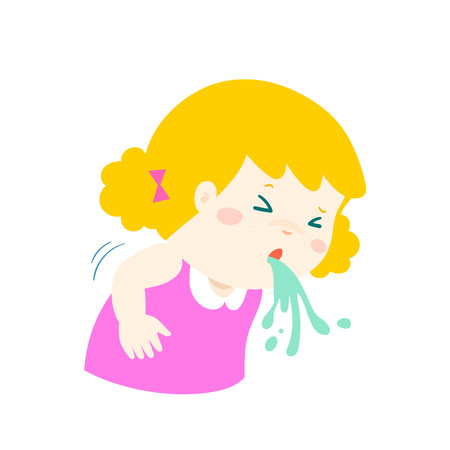 Sick girl vomiting cartoon vector illustration. Illustration