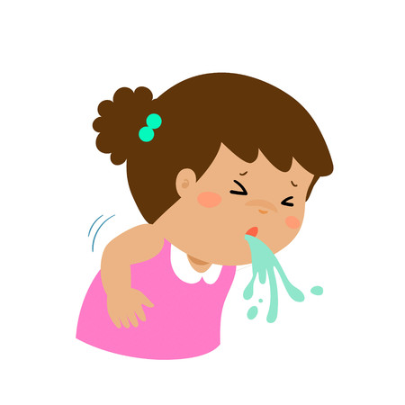 influenza: Sick girl vomiting cartoon vector illustration. Illustration