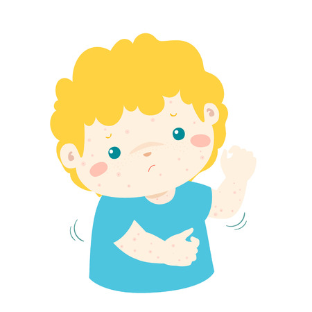 aching: Boy with health problem allergy rash itching vector.