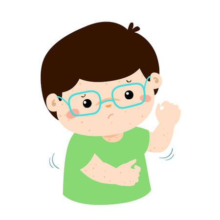 Boy with health problem allergy rash itching vector. 版權商用圖片 - 79017398