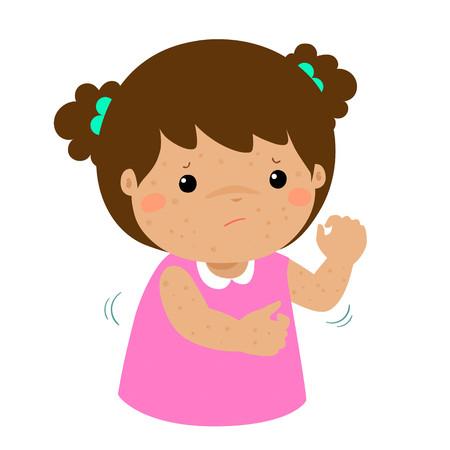 Meisje met gezondheidsprobleem allergie uitslag jeuk vector.