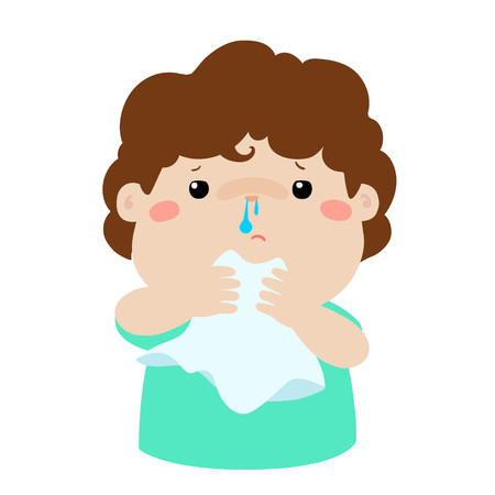 Sick boy runny nose vector illustration. Ilustrace