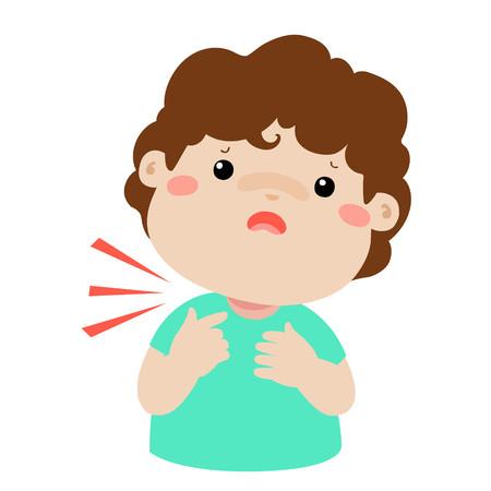 Sick boy sore throat cartoon vector illustration.