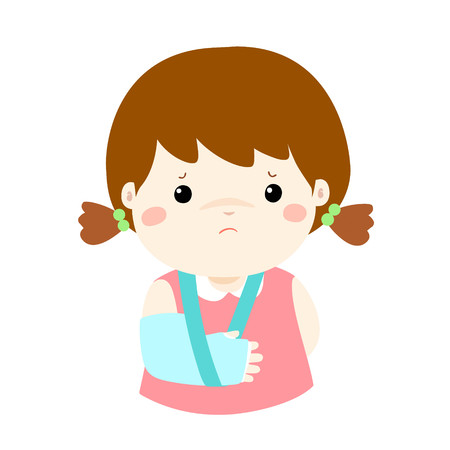 Cute girl hand bone broken from accident with arm splint vector illustration.