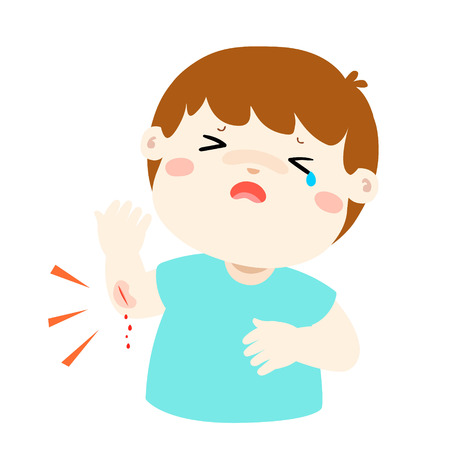 Crying boy with wounds from accident vector illustration.
