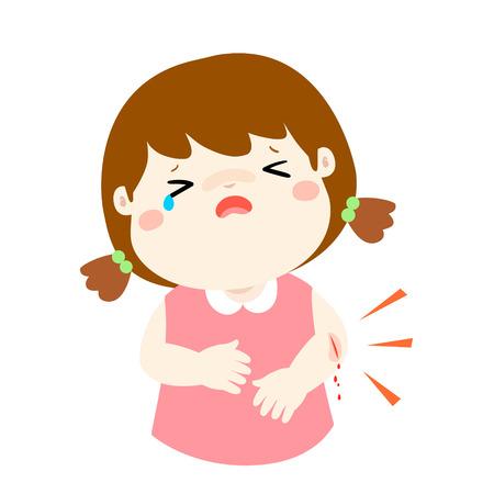 傷事故のベクトル図から泣いている女の子。