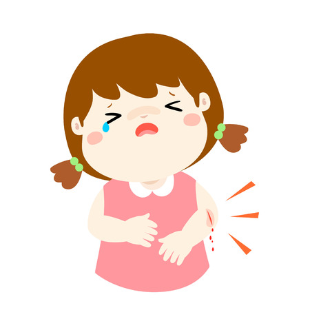 Crying girl with wounds from accident vector illustration. Imagens - 79170922