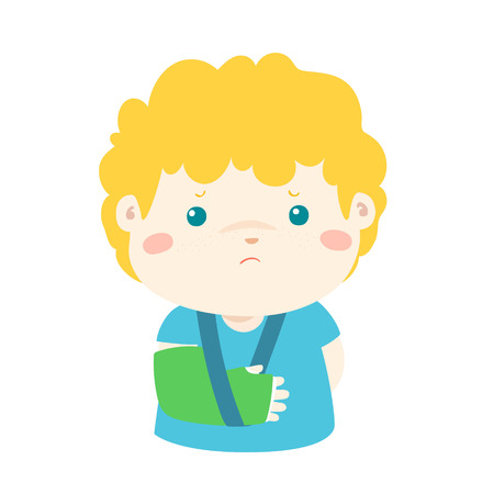 splint: Lindo chico hueso de la mano roto de accidente con el brazo de férula ilustración vectorial. Vectores