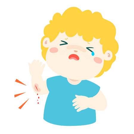 whine: Crying boy with wounds from accident vector illustration.