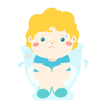 Cute boy sitting on the toilet. He is suffering of a diarrhea and a stomach upset. Vector illustration isolated on white background. Ilustrace