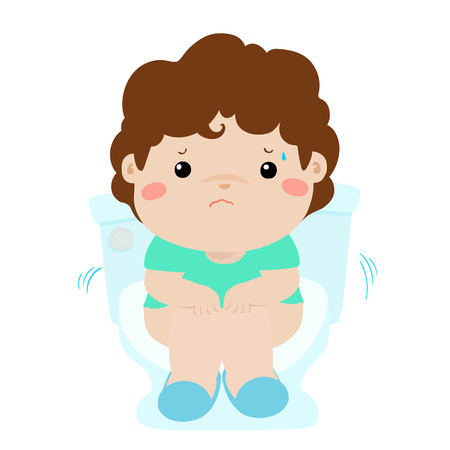 Cute boy sitting on the toilet vector illustration isolated