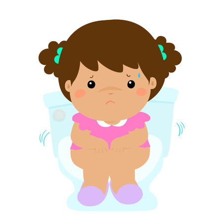 Cute girl sitting on the toilet. He is suffering of a diarrhea and a stomach upset. Vector illustration isolated on white background. Illustration