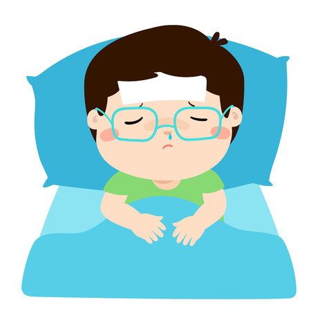 Little sick boy sleep in bed vector illustration.