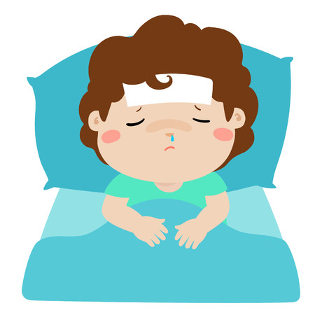 Little sick boy sleep in bed vector illustration.