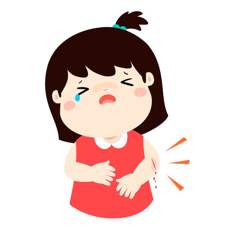 Crying girl with wounds from accident vector illustration. Çizim