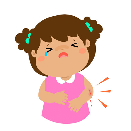 Crying girl with wounds from accident vector illustration. Illustration