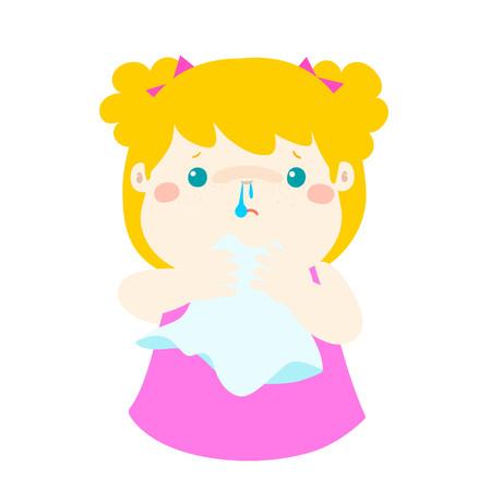Sick girl runny nose vector illustration.