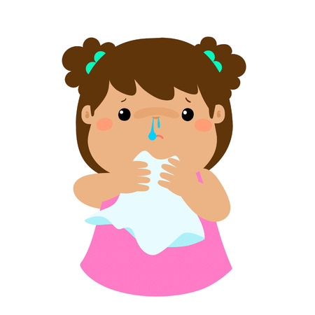 Sick girl runny nose vector illustration.