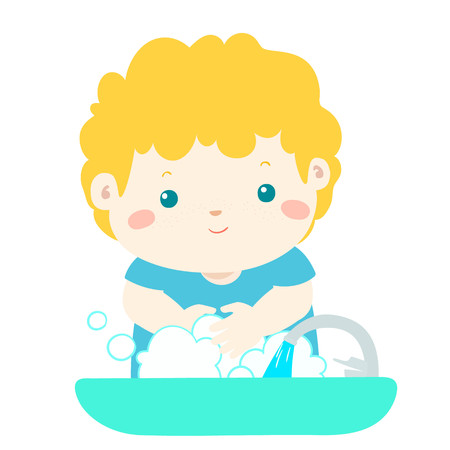 Cute boy washing hands in Washbasin vector illustration. Illustration