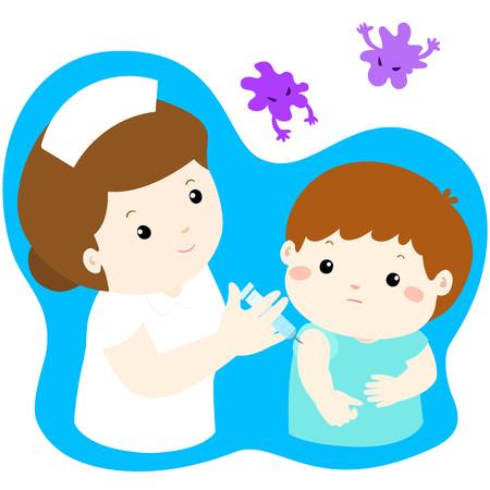 予防接種の子供漫画ベクトル イラスト。かわいい小さな男の子ベクトルを与える予防接種注射看護師します。